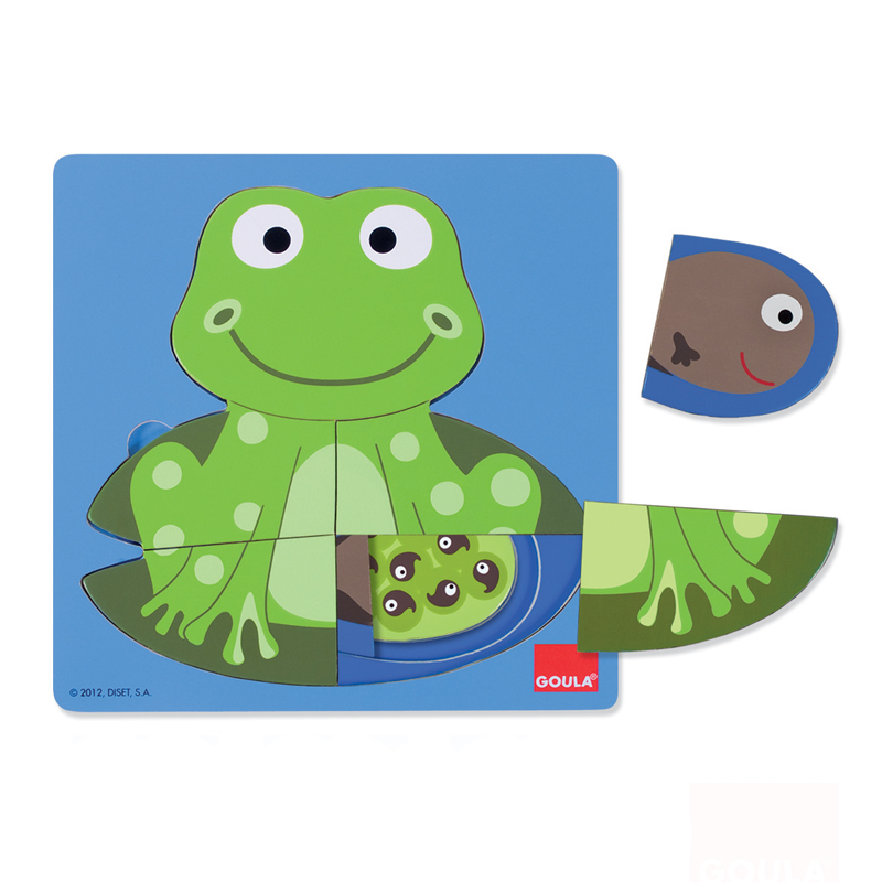 3 Levels Wooden Puzzle Frog